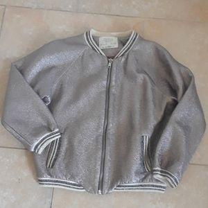 Zara girls faux leather bomber jacket size 6